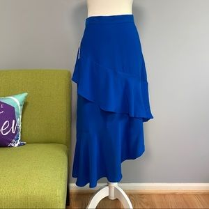 Worthington Blue Asymmetrical Ruffle Skirt NWT